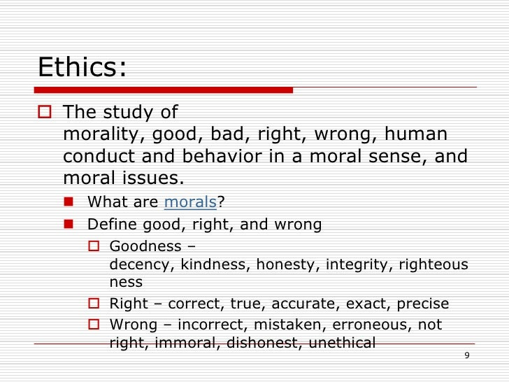 Moral values list and definition