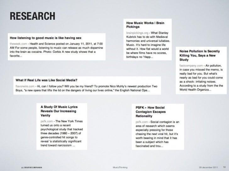 RESEARCH  (c) CREATIVE COMPANION   MusicThinking   28 december 2011   10