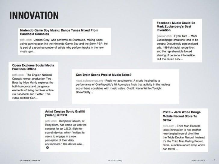 INNOVATION  (c) CREATIVE COMPANION   MusicThinking   28 december 2011   8