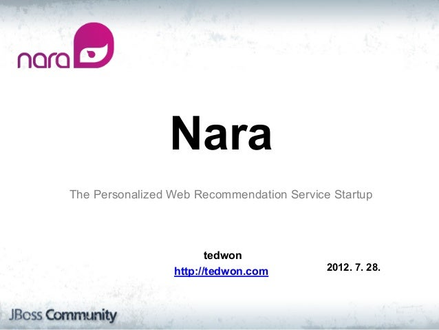 Nara The Personalized Web Recommendation Service Startup tedwon http://tedwon.com 2012. 7. 28.