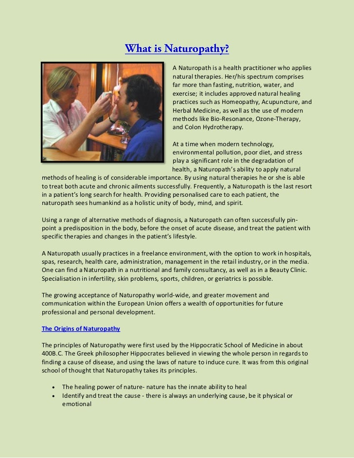 A Naturopath is a health practitioner who applies                                                natural therapies. Her/hi...