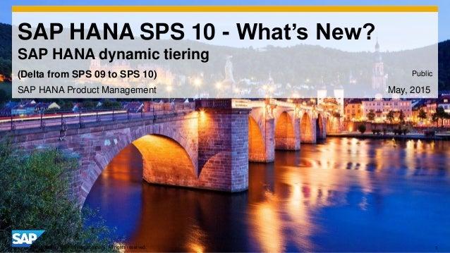 1© 2014 SAP AG or an SAP affiliate company. All rights reserved. SAP HANA SPS 10 - What's New? SAP HANA dynamic tiering SA...