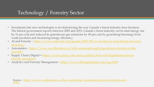 Technology / Forestry Sector Source - https://www.woodbusiness.ca/how-technology-is-transforming-bcs-forest-industry- 5248...