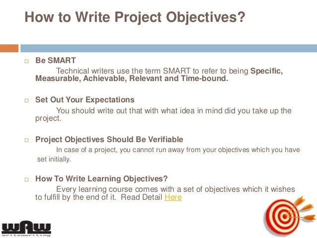 how to write project objectives