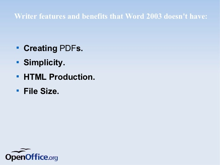 calc features and benefits that excel 2003 doesnt have creating pdfs interface details