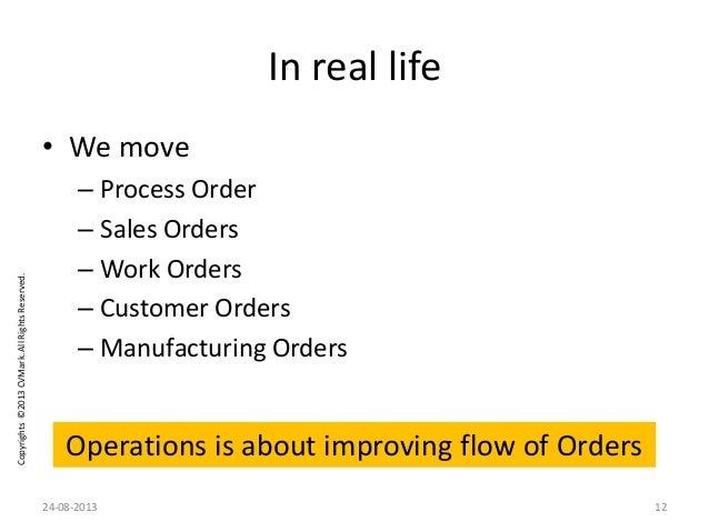 Copyrights©2013CVMark.AllRightsReserved. In real life • We move – Process Order – Sales Orders – Work Orders – Customer Or...