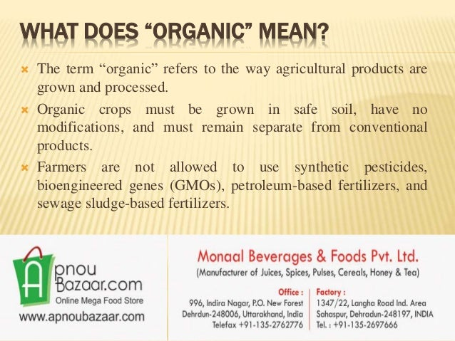 What is organic food for Organic soil meaning