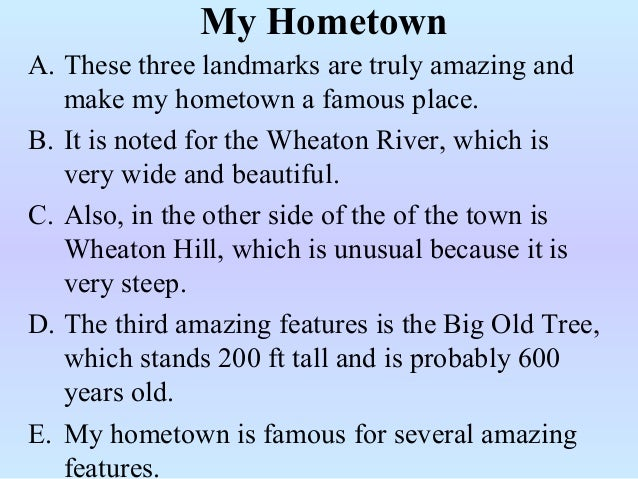My hometown paragraph writing