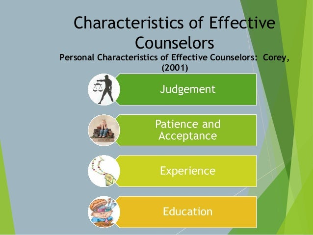 characteristics and behaviors of effective counseling Sional characteristics of effective teachers: understand that disruptive or antisocial behavior can quickly turn a teacher against a student twelve characteristics of an effective teacher and will seek to adopt them as their own.