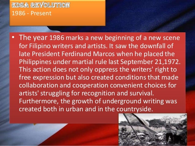 """essay about edsa revolution in philippines Early this year, on the first anniversary of the """"edsa revolution"""" (named  each  paper features its stable of hardworking star columnists, any of."""