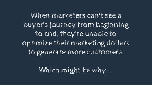 When marketers can't see a buyer's journey from beginning to end, they're unable to optimize their marketing dollars to ge...