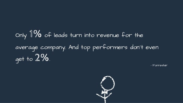 Only 1% of leads turn into revenue for the average company. And top performers don't even get to 2%. - Forrester