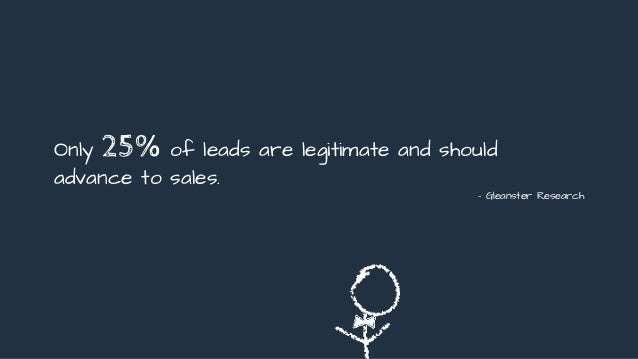 Only 25% of leads are legitimate and should advance to sales. - Gleanster Research