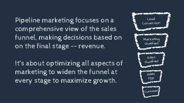 Pipeline marketing focuses on a comprehensive view of the sales funnel, making decisions based on on the final stage -- re...
