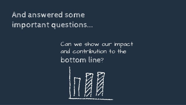 And answered some important questions... Can we show our impact and contribution to the bottom line?