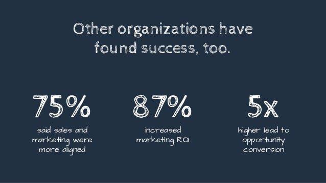 Other organizations have found success, too. 75%said sales and marketing were more aligned 5xhigher lead to opportunity co...