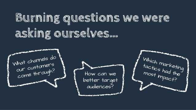 What channels do our customers come through? Burning questions we were asking ourselves… How can we better target audience...