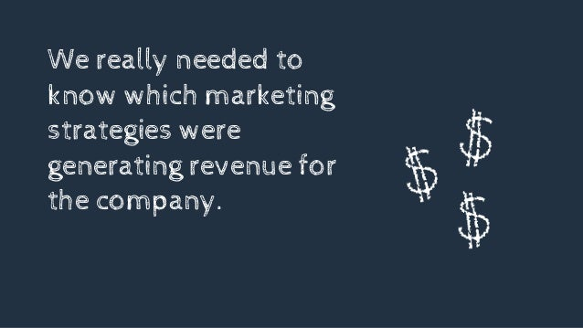 We really needed to know which marketing strategies were generating revenue for the company.