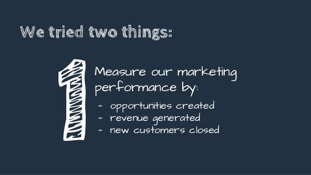 We tried two things: 1 Measure our marketing performance by: - opportunities created - revenue generated - new customers c...
