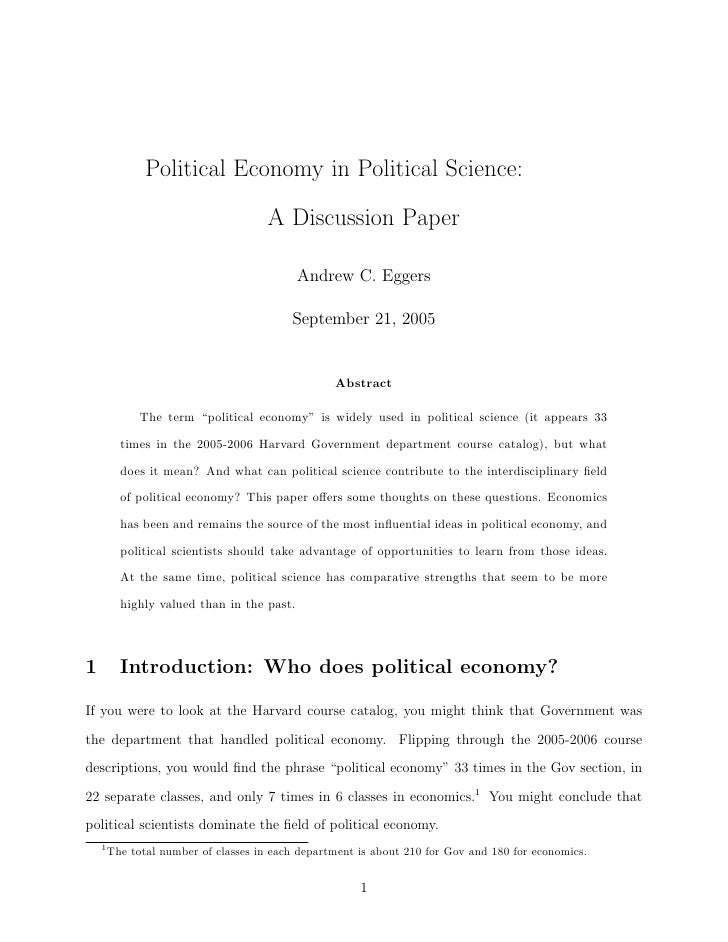 Political Economy in Political Science:                                      A Discussion Paper                           ...