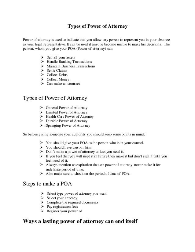 types of power of attorney power of attorney is used to indicate that you allow any
