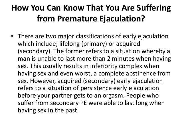 What to do to avoid premature ejaculation