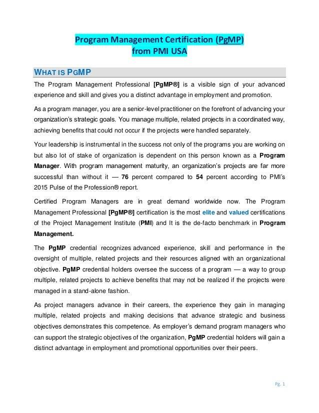 What Is Program Management Certification Pgmp