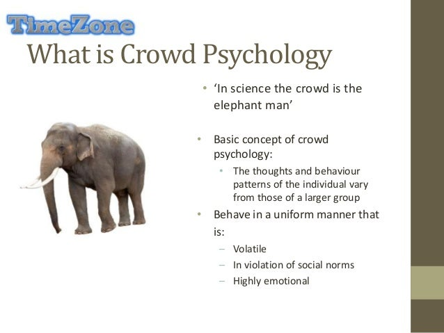 crowd behavior notes Networks, crowds, and markets combines different scientific perspectives in its approach to understanding networks and behavior 161 following the crowd.