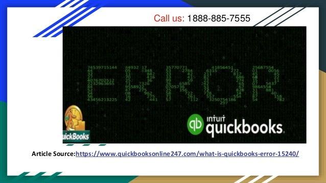 What is quickbooks error 15240