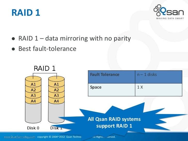 RAID 1   RAID 1 – data mirroring with no parity   Best fault-tolerance                            Fault Tolerance   n – ...