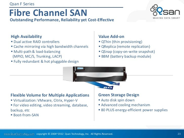Qsan F SeriesFibre Channel SANOutstanding Performance, Reliability yet Cost-EffectiveHigh Availability                    ...