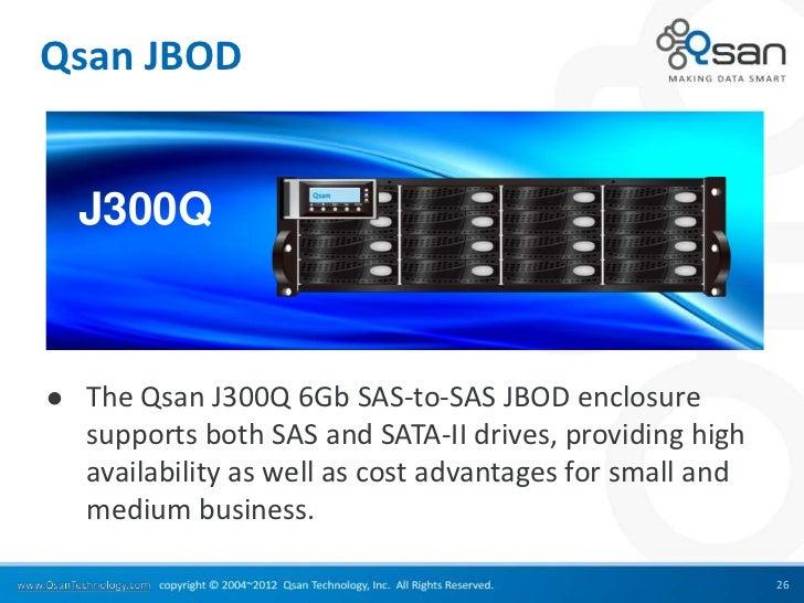 Qsan JBOD    J300Q   The Qsan J300Q 6Gb SAS-to-SAS JBOD enclosure    supports both SAS and SATA-II drives, providing high...