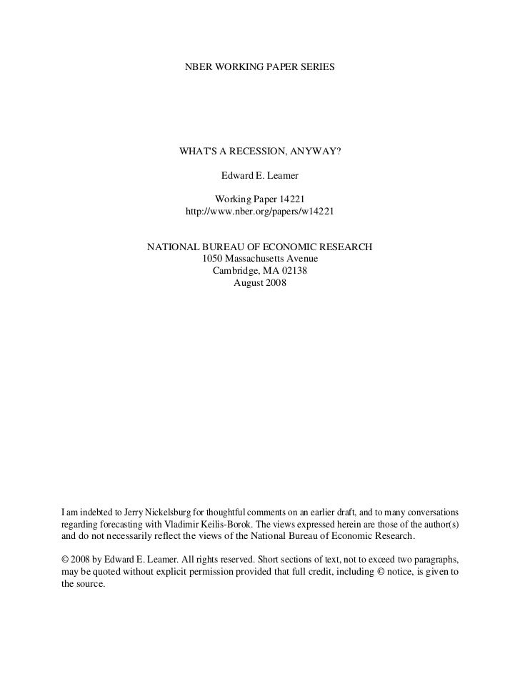 NBER WORKING PAPER SERIES                               WHATS A RECESSION, ANYWAY?                                        ...