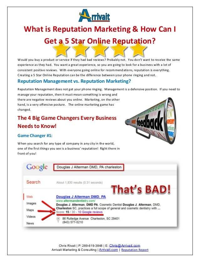 What is Reputation Marketing & How Can I        Get a 5 Star Online Reputation?Would you buy a product or service if they ...