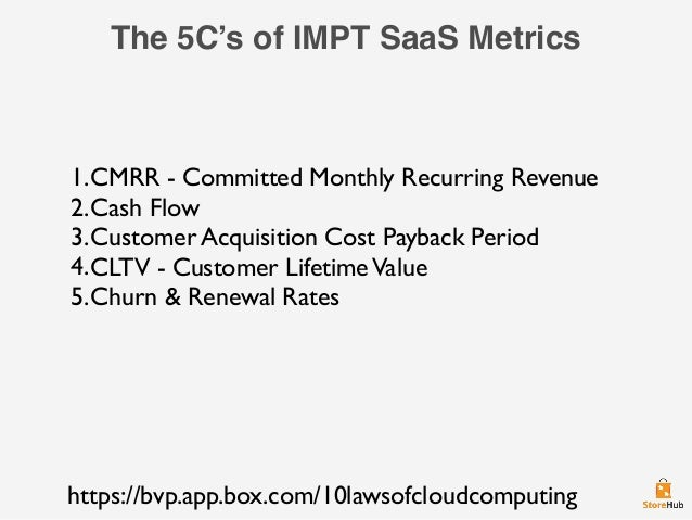 The 5C's of IMPT SaaS Metrics 1.CMRR - Committed Monthly Recurring Revenue 2.Cash Flow 3.Customer Acquisition Cost Payback...