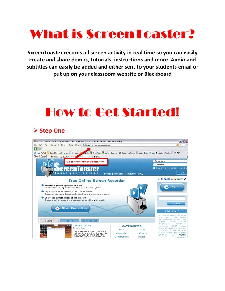 What is ScreenToaster?ScreenToaster records all screen activity in real time so you can easily create and share demos, tut...
