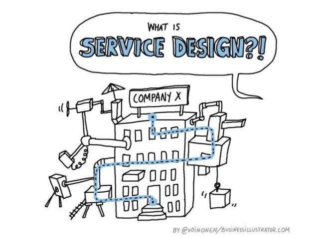 What is service design? Cartoon explanation by Virpi Oinonen from Businessillustrator.com