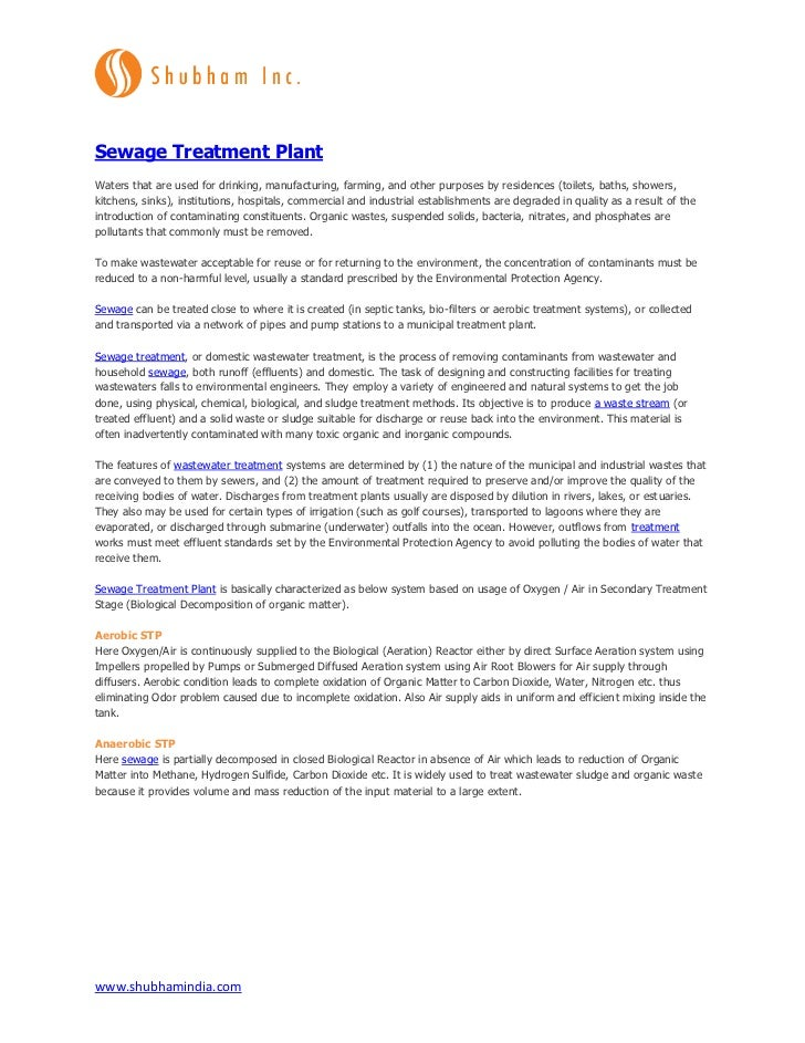 Sewage Treatment PlantWaters that are used for drinking, manufacturing, farming, and other purposes by residences (toilets...
