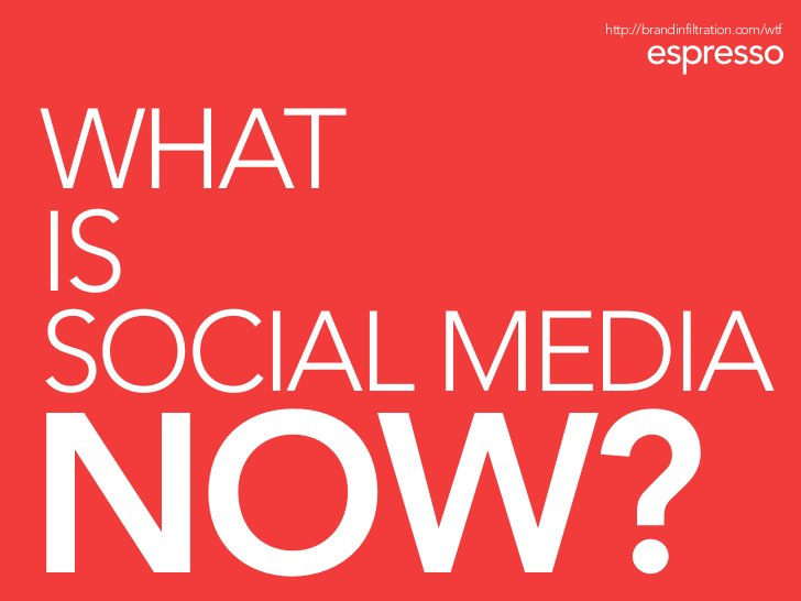 http://brandinfiltration.com/wtf     WHAT IS SOCIAL MEDIA NOW?