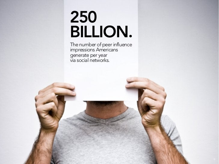 250 BILLION. The number of peer influence impressions Americans generate per year via social networks. 62% of those impres...