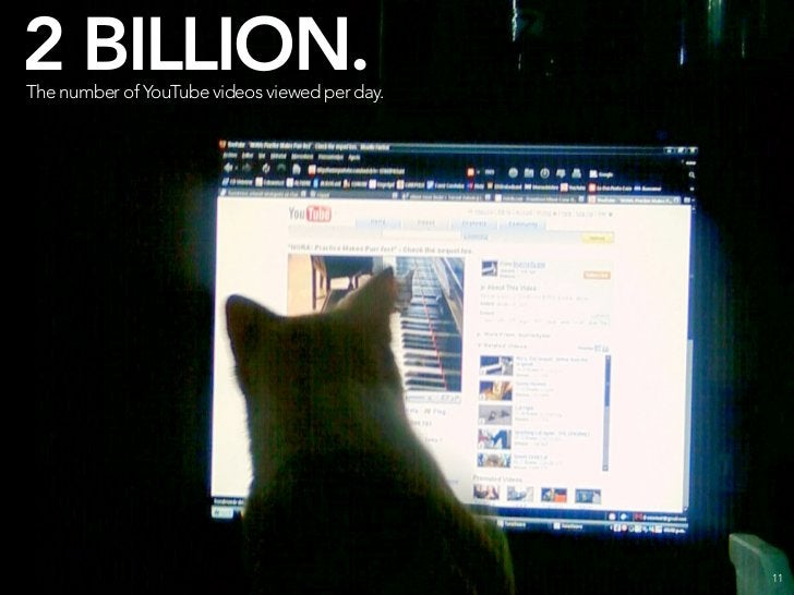 2 BILLION. The number of YouTube videos viewed per day. THAT'S TWICE AS MANY AS LAST YEAR.                                ...