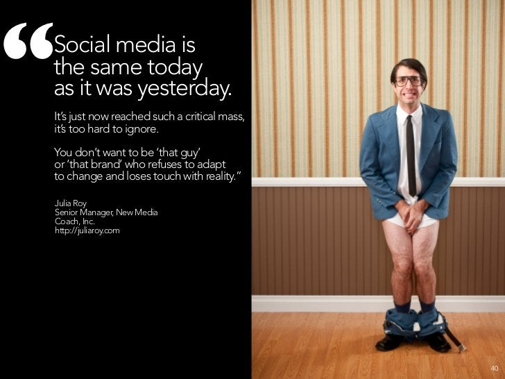 """""""     Now social media IS media.     And like all media it is at risk of getting corrupted, polluted, overly commercial,  ..."""