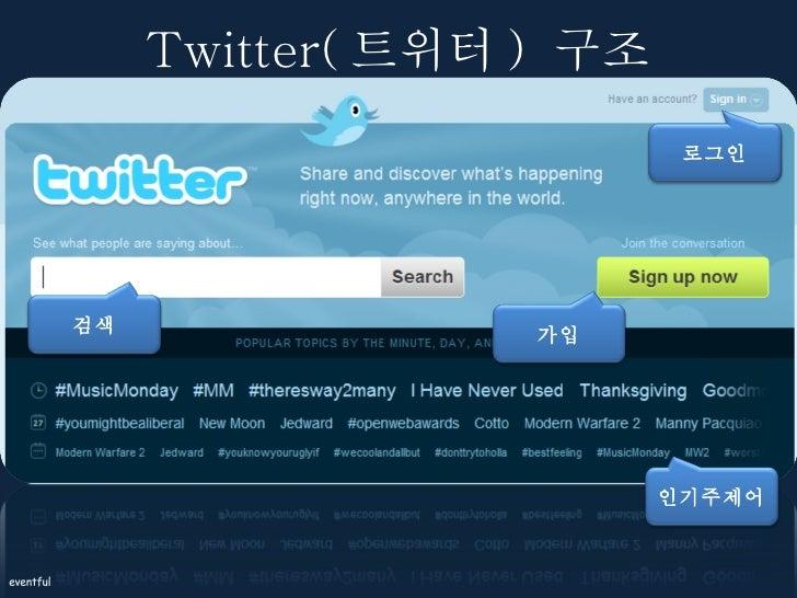 Twitter( 트위터 )  구조 로그인 검색 가입 인기주제어