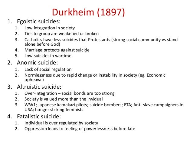 emile durkheims 1897 analysis of suicide Emile durkheim (1858-1917) is an extremely important sociologist from france in his career, durkheim has several methods that including social facts, society, collective consciousness and culture, suicide and religion.