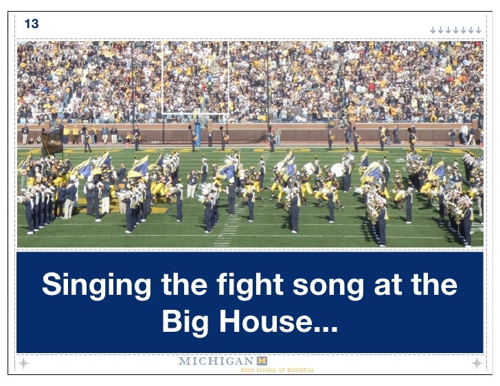 13          Singing the fight song at the              Big House...