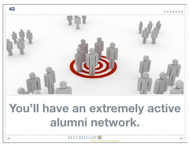 43     You'll have an extremely active         alumni network.