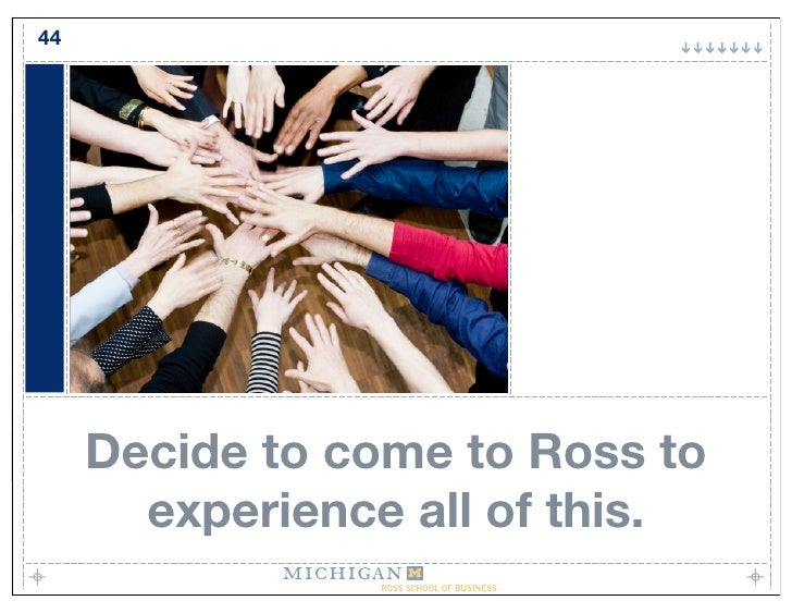 44          Decide to come to Ross to        experience all of this.