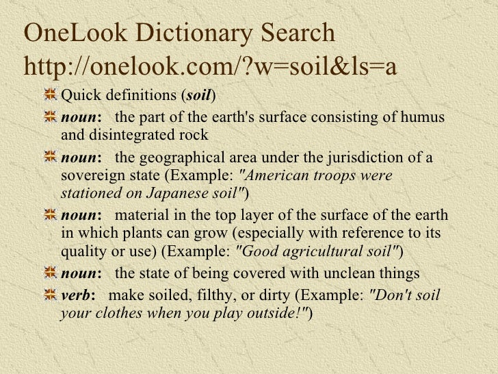 What is soil for Soil dictionary