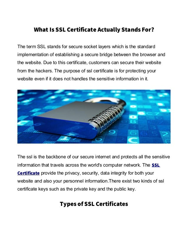 What Is Ssl Certificate Actually Stands For