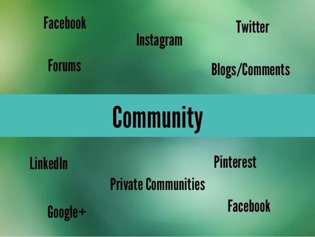 CommunityForumsPrivate CommunitiesGoogle+LinkedInFacebookInstagramFacebook TwitterPinterestBlogs/Comments